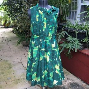 Merino Green Floral Dress